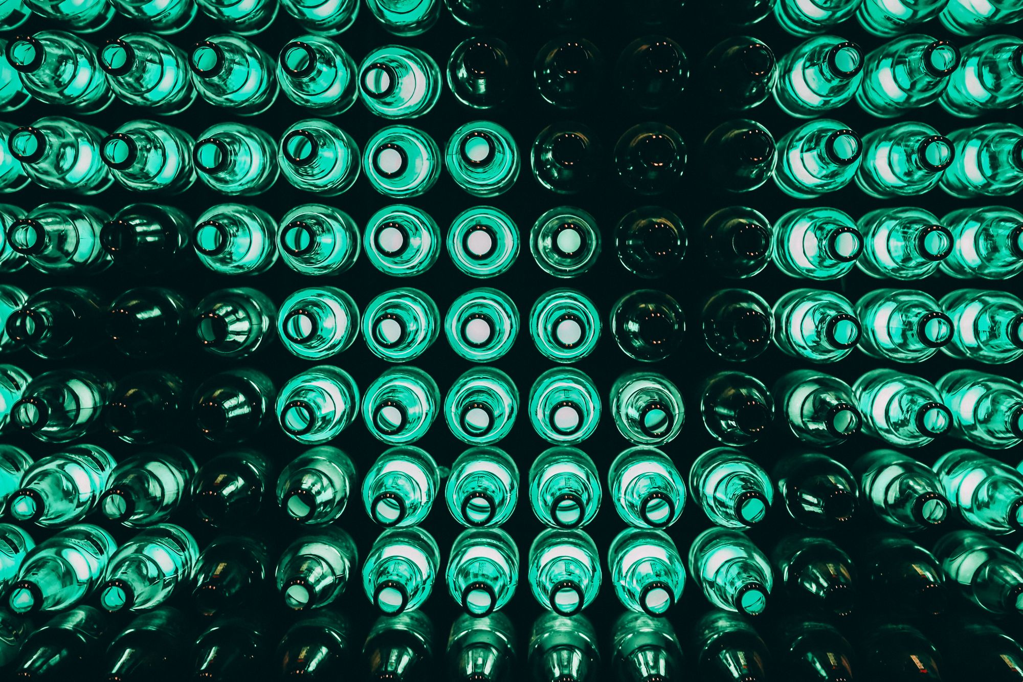 Bottles stacked and aligned