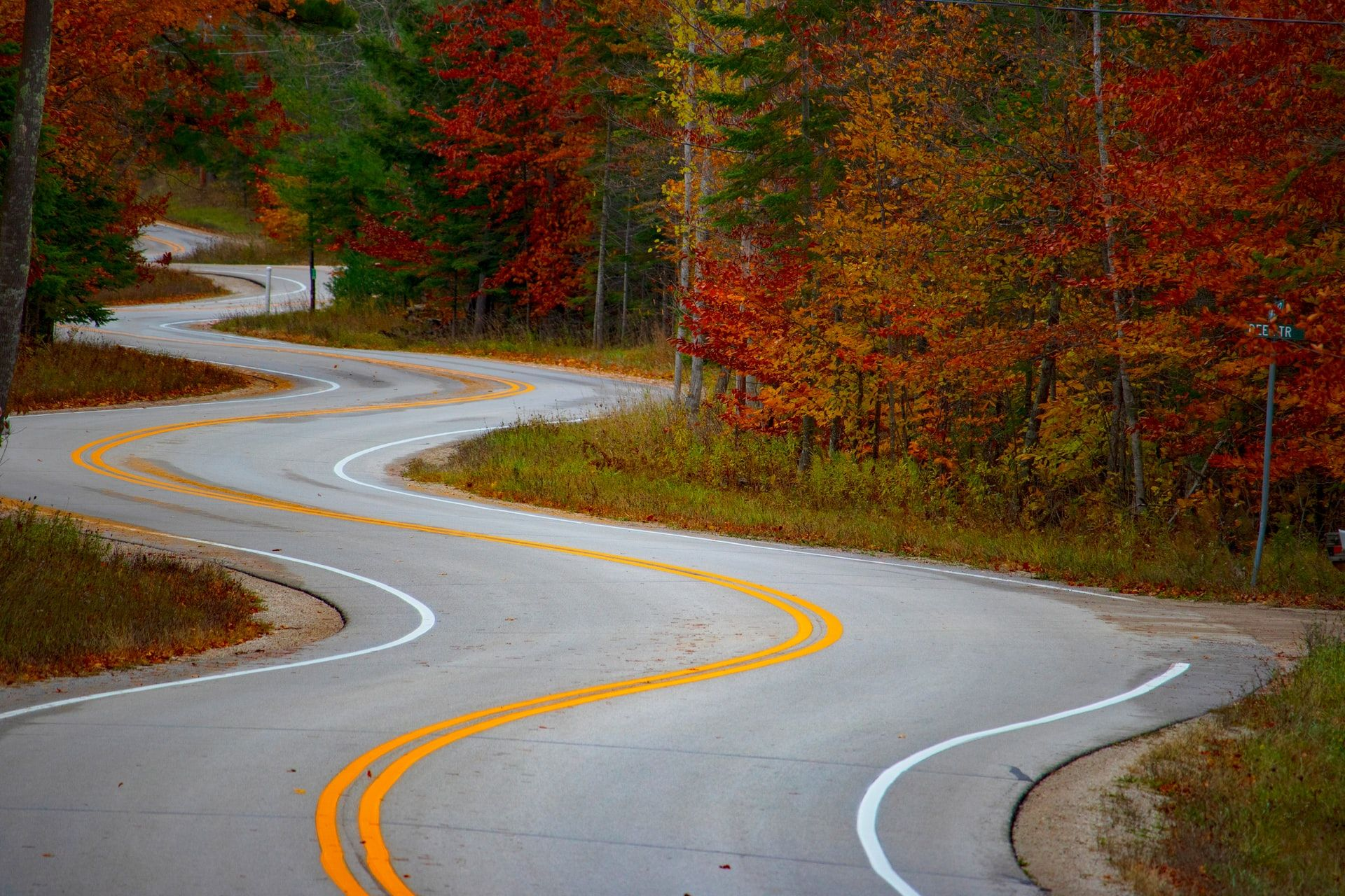Looking down a very curvy road