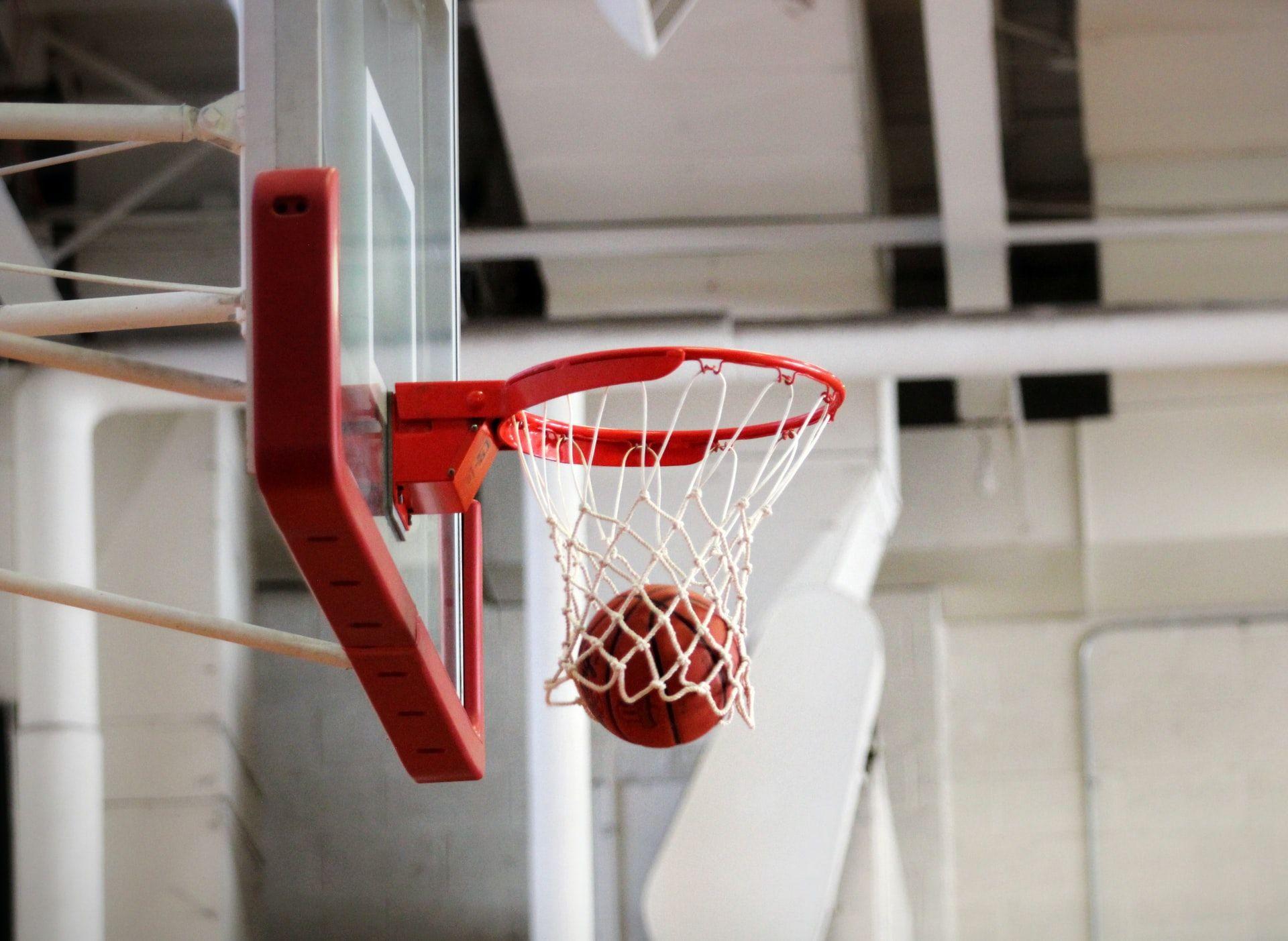 Basket ball hitting the net