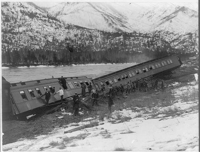 Train derailment between Eddy and Weeksville, Montana on the Northern Pacific Railroad